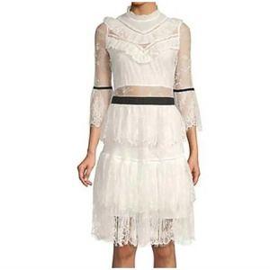 FEW MODA Tiered Lace Tulle Midi Dress White Size XS